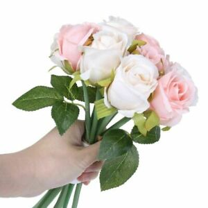 12 Heads Silk Rose Artificial Flowers Fake Bouquet Buch Wedding Home Party Dec