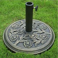 HEAVY DUTY CAST IRON EFFECT BRONZE GARDEN PARASOL BASE BRONZE PATIO ROSE DESIGN