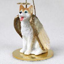HUSKY dog ANGEL Ornament HANDPAINTED Resin FIGURINE Blue Eye RED puppy Christmas