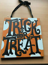 "Halloween Theme WOODEN PAINTED REVERSIBLE HANGING DECOR NEW 12"" X 12"""