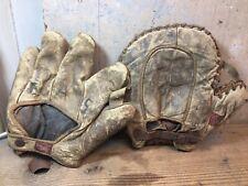 New listing Lot of 2 Vintage Spaulding Leather Baseball Gloves Catchers Mitt