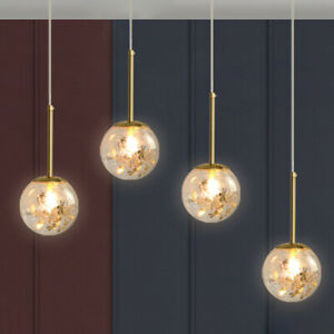 Nordic Hanging Pendant Light Clear Glass 1 Head Bedroom Lamp Fixture Kit in Gold