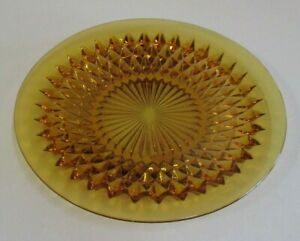 Vintage Amber Coloured - Indiana Glass Diamond Point - Serving Platter - 1970s