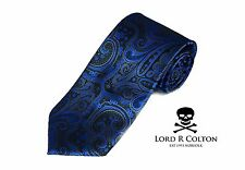 Lord R Colton Studio Tie Black & Electric Blue Paisley Woven Necktie $95 New