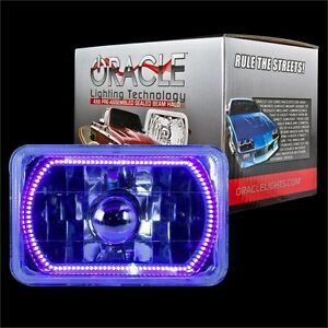 "ORACLE 4""x6"" Sealed Beam Single Headlight + ORACLE Pre-Installed UV SMD Halo"