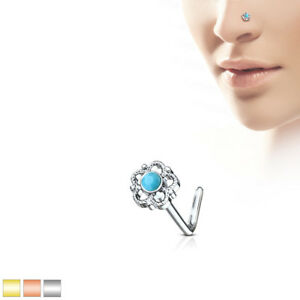 1pc Filigree Flower w/Turquoise Stone Center 20g L-Bend Nose Ring Stud Screw