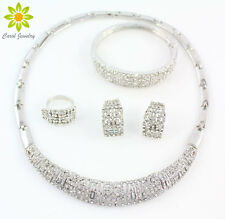 African Jewelry Set Silver Plated Rhinestone Necklace Earrings Bracelet Ring Set