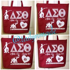 Ladies Women Glitter Glam Custom Sorority Red Delta Sigma Theta Zipped Tote Bag