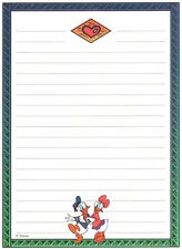 Mickey Mouse Donald Daisy Duck Collectible Stationery  - 7 Sheets & 3 Envelopes