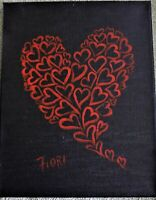 "Red Hearts Painting 11""x14"" orginal Acrylic on Canvas"