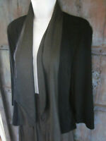 Chicos Travelers 3 Size XL Black Textured Cardigan Jacket Open Front Draped Top