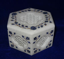 Marble Hexagon Jewelry Trinket Box Lapis Lazuli Perfect Gifts For Home Decor Art