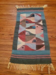 Vintage Handwoven Wall Rug Mid Century Modern Fish Wool Tapestry Mexican Weaving