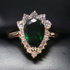 Sparkling Pear Green Emerald Ring Women Anniversary Jewelry 14K Rose Gold Plated