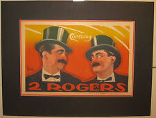 Antique EMILE FINOT '2 ROGERS' Comedians Comedy PARIS THEATER POSTER - Top Hats