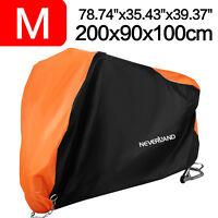 M Waterproof Motorbike Cover Motorcycle Scooter Dust Rain Protector Orange+Black