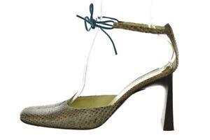Karen Millen Womens Shoes Size 38.5 8.5 Beige Textured Leather Ankle Strap Heels