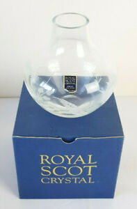 "Royal Scot Crystal Round Etched Vase Highland Fern Pattern 6"" with Box"