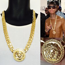 "New MENS ROUND MEDALLION GOLD GREEK  GOD CUBAN LINK CHAIN PENDANT 30""NECKLACE"