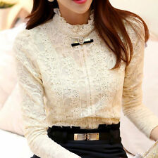 Sexy Fashion Women Long Sleeve Shirt Casual Lace Blouse Loose Cotton Top T Shirt