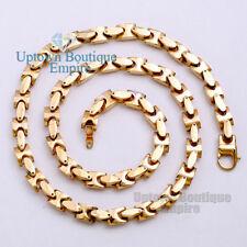 MEN Stainless Steel HEAVY 8mm Gold Interlock Bones Chain Necklace 5