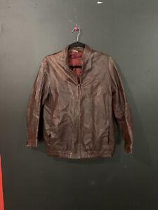 Vintage Schott Cafe Style Racer Leather Jacket Size Medium Burgundy