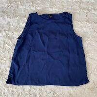 Eileen Fisher Women's Blue Sleeveless Silk Blouse Size Medium