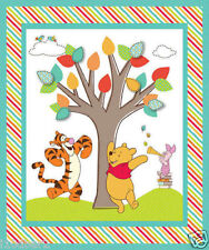 POOH FABRIC baby QUILT TOP nursery COTTON FABRIC pooh FRIENDS PANEL BTP NEW