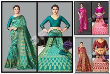 Banarasi Silk Saree Wedding Wear Indian Tradional Sari With Rich Zari Pallu Sari