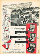 PUBLICITE ADVERTISING 015  1956  TEPPAZ  éléctrophone mallette