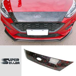 Fit For 18-on Ford FOCUS MK4 Hatchback Front Hood Cover Trim Carbon Fiber w/ Red