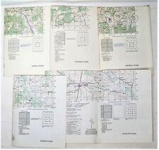 Qty 5 - 1950's Military Training Maps of Poland - Jedrzejow - Pinczow - Wadowice