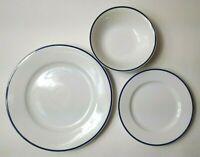 Cape Cod Bleu Crate & Barrel Blue Stripe White Cereal Bowl Salad & Dinner Plates