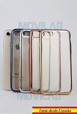 Funda carcasa gel / TPU Apple Iphone 7 transparente borde metalizado