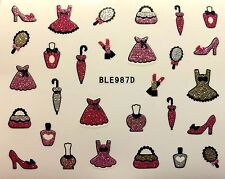 Nail Art 3D Glitter Decal Stickers Dress Up Purse Umbrella Shoes Polish BLE987D