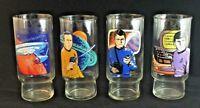 1978 Set of 4 Star Trek Dr Pepper Glasses Kirk Spock McCoy & Enterprise