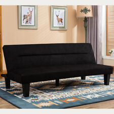 Modern Style Convertible Sofa Bed Futon Couch Sleeper In Black Microfiber W Leg