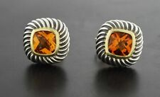 David Yurman Petite Albion 14k Yellow Gold Sterling Silver Citrine Stud Earrings