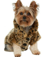 Cute Winter Pet Leopard Faux Christmas Fur Clothes Dog Outfit Coat Jacket Luxury