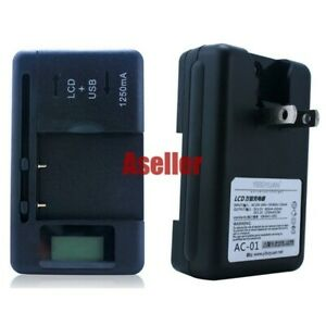 LCD Indicator AC Main + USB Universal Battery Charger for Cell Mobile Phone #D