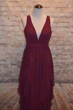 Modcloth Stately Slow Dance Maxi Dress NWT M Merlot Burgundy tier chiffon formal