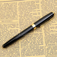 Hot! BAOER 388 Nib Medium Gold Trim Arrow Clip Black Metal Fountain Pen