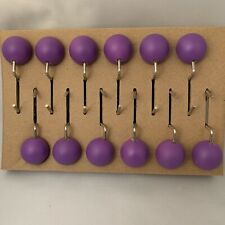 Round Purple Ball Shower Curtain Hooks - 12 Pack