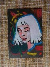 ACEO original pastel painting outsider folk art #010147 girl portrait surreal
