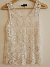 New Look Crochet Lace White Sleevless Top 8-10 <BP103