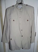 VTG OLEG CASSINI Beige 2 Piece Lined Skirt Suit Size 8