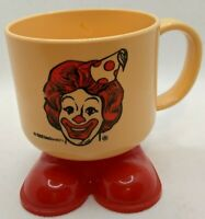 Vintage McDonald's Ronald McDonald Footed Plastic Mug Clown Feet 1985