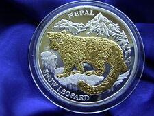 LIBERIA - 10 Dollars 2005 * SCHNEELEOPARD * Nepal Gold Silber Brillanten Leopard