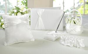 wedding guest book pen flower girl basket ring bearer pillow bridal garter