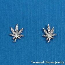 .925 Sterling Silver MARIJUANA LEAF Post Stud EARRINGS